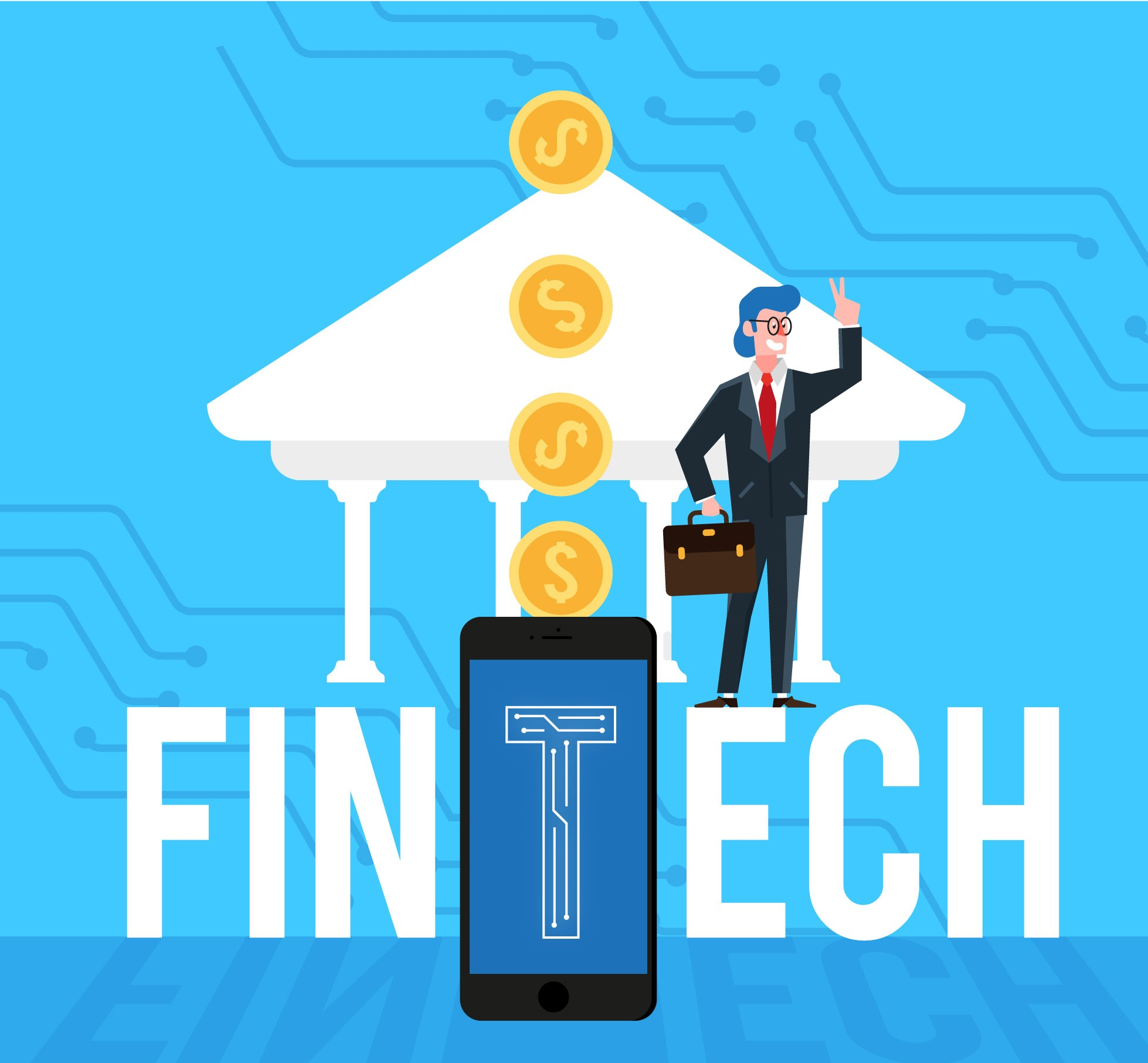 a business man standing in front of letters FINTECH